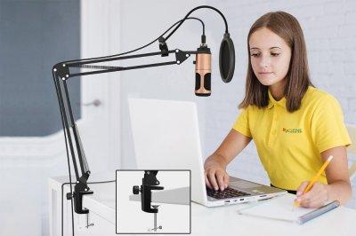 Студійний мікрофон Music D. J. M900U USB зі стійкою і поп-фільтром Bronze (7331)
