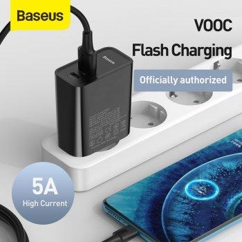 Мережевий зарядний пристрій Baseus Speed PPS QC3.0+PD3.0 30W VOOC USB+Type-C 5A + Кабель VOOC Type-C to Type-C 5A 1м Чорний