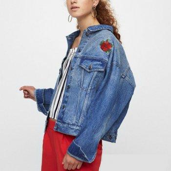 Куртка жіноча джинсова з вишивкою Konichiwa Berni Fashion Блакитний (55402)
