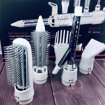 Фен для волосся, стайлер з насадками Gemei GM-4836 7в1 Білий (par_GM 4836)