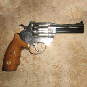"""Револьвер під патрон Флобера Alfa 441 Classic (4.0"""", 4.0 мм), нікель-дерево"""