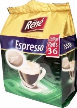 Кофе молотый в чалдах Rene Espresso 36 шт для кофемашин Philips Senseo