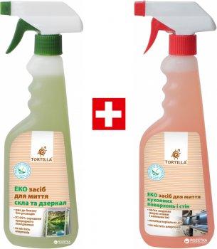 Упаковка средств Tortilla ЭКО средство для мытья стекол и зеркал 450 мл + ЭКО средство для мытья кухонных поверхностей и стен с антибактериальным действием 450 мл (4820178063623)