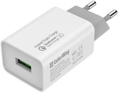Сетевое зарядное устройство ColorWay 1USB Huawei SC 3.0, 4A (20W) White + Кабель ColorWay USB Type-C 5.0А (Fast Charging) 1 м White (CW-CHS014Q-WT-CBU)