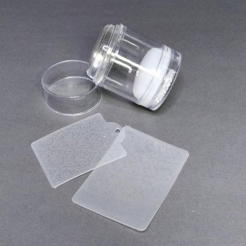 Штамп подвійний силіконовий білий для стемпинга і 2 скрапер-пластини з візерунками