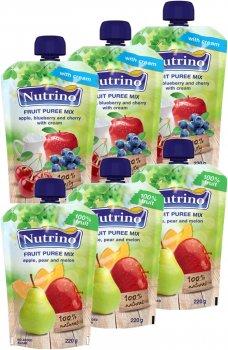 Упаковка фруктового пюре Nutrino Мікс №1 220 г х 6 шт. (86060196575361)