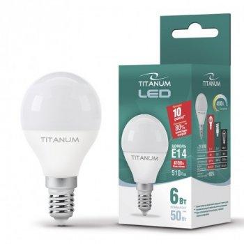 Лампа LED G45 6W E14 4100K 220V, 24999, Titanum