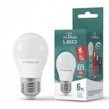Лампа LED G45 6W 4100K E27 220V,, 25000, Titanum