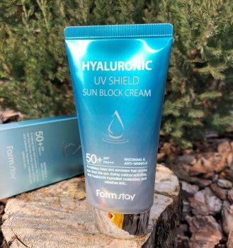 Солнцезащитный крем-праймер с гиалуроновой кислотой FarmStay Hyaluronic UV Shield Sun Block Cream SPF50+ PA++ 70 мл