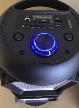 Портативна бездротова колонка Column BT 4220 з вбудованим акумулятором USB для вулиці і будинки - Переносна музична акустична система з блютузс двома динаміками - LED підсвічуванням і FM радіо + TF-card + AUX, Bluetooth Чорний