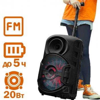 Колонка – валіза Column 06 потужна портативна бездротова Bluetooth LED підсвічуванням + FM + AUX – Музична блютуз портативна акустична стерео система USB з акумулятором для вулиці і вдома, Чорний