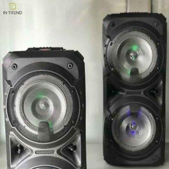 Переносна Column ZQS-8201 музична безпровідна USB колонка з LED підсвічуванням - блютуз з потужними динаміками + пульт д/у + безпровідний мікрофон для вулиці і будинки – Портативна акустична система Bluetooth і акумулятор, Чорний
