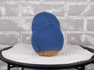 Шапочка с пуговками MagBaby синяя демисезон 50-54 см.