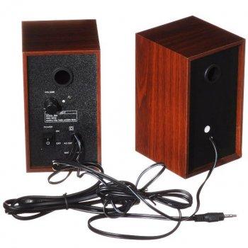 Комп'ютерні колонки Music-F D9A для ПК 3 Вт*2 з регулювання звуку Коричневі (11754)