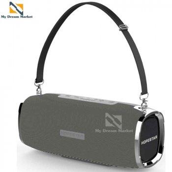 Музична колонка Hopestar A6 портативна - сумісна з будь-яким пристроєм по блютуз - портативна Бездротова акустична система з вбудованим сабвуфером + Bluetooth + роз'єм під USB і AUX, Grey