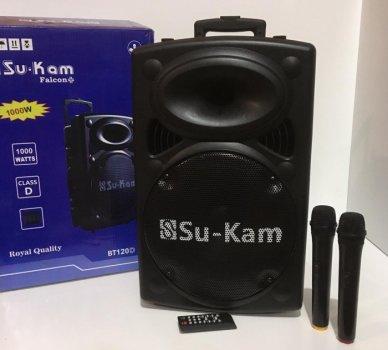 Акустическая система комбик 2 радио микрофона беспроводная аккумуляторная колонка USB FM Su-Kam BT-120D Black