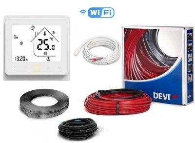 Тепла підлога DEVIflexTM 18T двожильний нагрівальний кабель в стяжку 105 м, 1880 Вт c програмованим сенсорним WiFi терморегулятором в комплекті (70768)