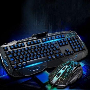 Професійна провідна ігрова клавіатура з 3-я підсвічуваннями і мишкою Atlanfa AT-V100P Комплект Original (100P)
