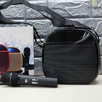 Музична портативна Bluetooth колонка Wireless A25 переносна ЮСБ з гучним звуком і світлом для телефону, комп'ютера, ноутбука - USB акустична стерео система з мікрофоном + роз'єм під флешку + AUX + карта пам'яті, Чорний
