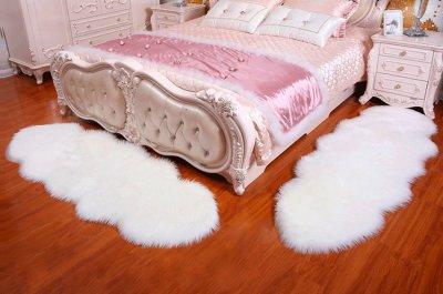 Декоративний пухнастий килимок подовжений для спальні Muzzi 60×180 Білий (штучне хутро)