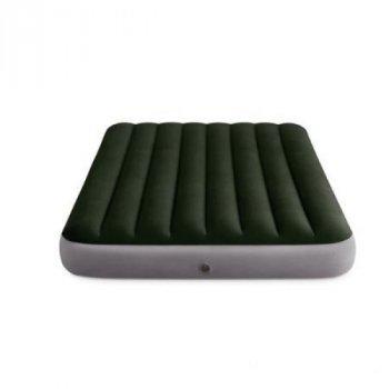 Полуторный надувной матрас Intex 64762 со встроенным ножным насосом 137 x 191 x 25 см Зеленый (RT-64762)