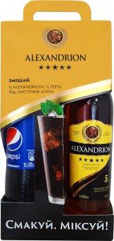 Подарочный набор Крепкого алкогольного напитка Alexandrion 5* 0.5 л 37.5% + безалкогольный сильногазированный напиток «PEPSI» 1 л (4820242570019)