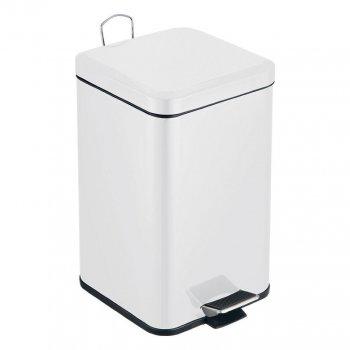 Відро для сміття Trento з педаллю Slow Motion квадратне 6л біле
