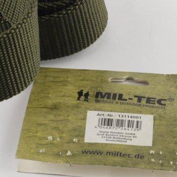 Ремень брезентовый брючный милитари Mil-tec ширина 40 мм олива длина 100 см (13172001)