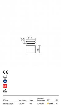 Настенный светильник Redo Pocket IP54 DG 3000K