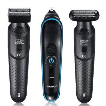 Тример стайлер для стрижки волосся і бороди професійний акумуляторний бездротовий Kemei KM-690 5в1