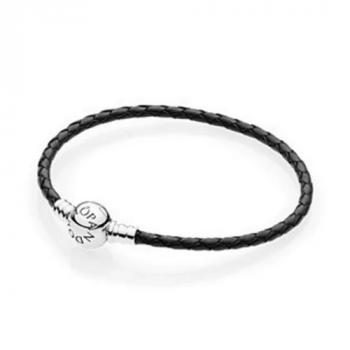 Серебряный кожаный браслет Пандора 590745CBK-S