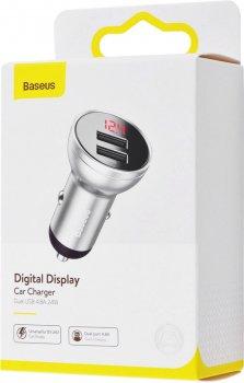 Автомобільний ЗП Baseus Digital Display Dual USB 4.8 A Car Charger 24 W CCBX-0S Silver (165721)