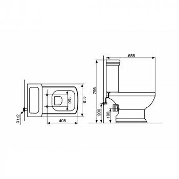 Унитаз-компакт DEVIT Retro с бачком и сиденьем дюропласт Soft Close (3010127)