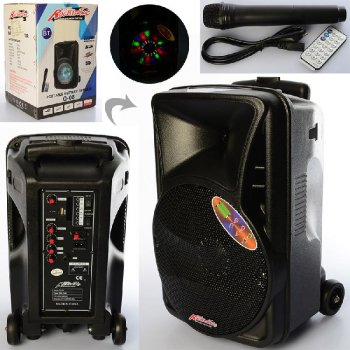 Переносная портативная колонка Rocksonic Bluetooth беспроводная автономная с ручкой на колёсиках и в комплекте с микрофоном. С аккумулятором (PV-14009203)