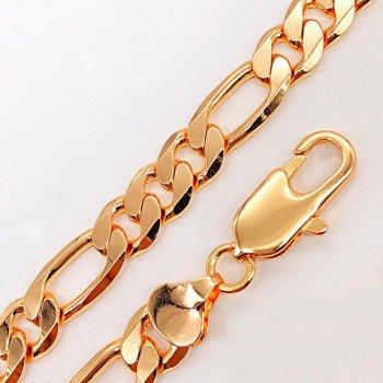 Браслет Xuping 21 см х 10,5 мм Фигаро медицинское золото позолота 18К А/В 4-0033
