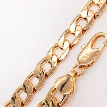 Браслет Xuping 20 см х 10 мм Панцирный медицинское золото позолота 18К А/В 4-0028