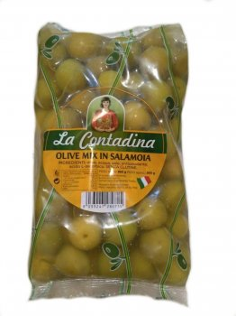 Гигантские оливки с косточкой микс La Contadina olive mix in salamoia 850 г