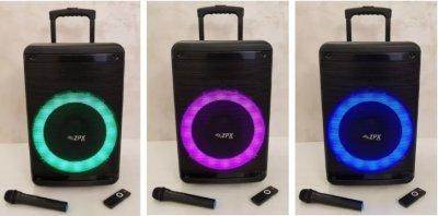 Професійна акумуляторна акустична система ZPX зі світломузикою і бездротовим мікрофоном (ZX-7778)