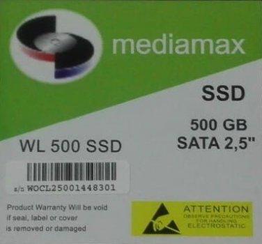 Накопичувач SSD 500GB Mediamax SATAIII 2.5 TLC (WL 500 SSD) Refurbished напрацювання до 1%