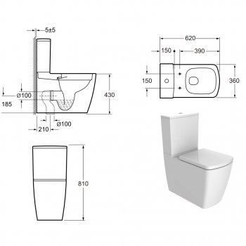 Унитаз-компакт DEVIT Country 2.0 безободковый с сиденьем Soft Close Quick-Fix дюропласт (3010125)