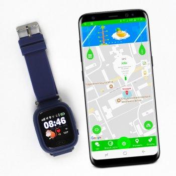 Дитячі смарт-годинник JETIX Q90 Dark Blue з GPS трекером і телефоном + Захисне скло