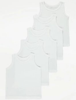 Майка (5 штук) для хлопчика George Q042 Білі (P-6910806230602)
