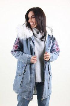 Куртка жіноча Джинс Lingjeer 6056 з хутром всередині (Синій)