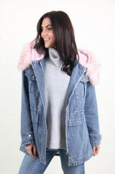 Куртка женская M.J. 1067 искусственный мех (Синий )