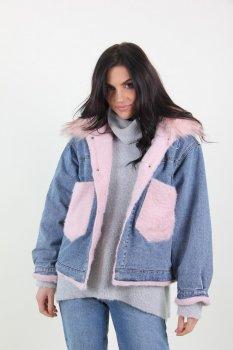 Куртка жіноча Джинс Yuyanfushi 9870 штучне хутро (Рожевий)