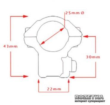 """Кріплення для прицілу Hawke Matchmount 9-11 mm 1"""" Med (920996)"""