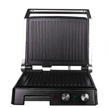 Електричний гриль прес DSP KB-1036, 2000Вт, Відкривається на 180 градусів, 2 регулювання температури пластин, гриль прижимний, Сріблястий