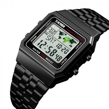 Часы мужские классические SKMEI WORLD 1338 с металлическим браслетом + будильник Черный