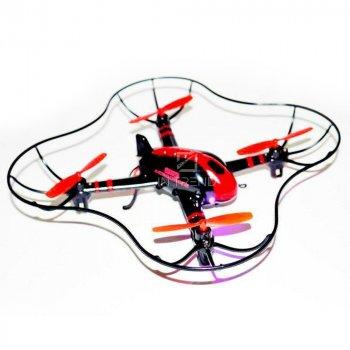 Квадрокоптер на радиоуправлении дрон Dragonfly 407 X6 с пультом Д/У - летающий дрон с подсветкой на аккумуляторе переворотный для детей и взрослых, - Красный