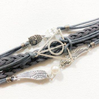 Плетеный Браслет на руку с элементами истории Гарри Поттер Bioworld Серый